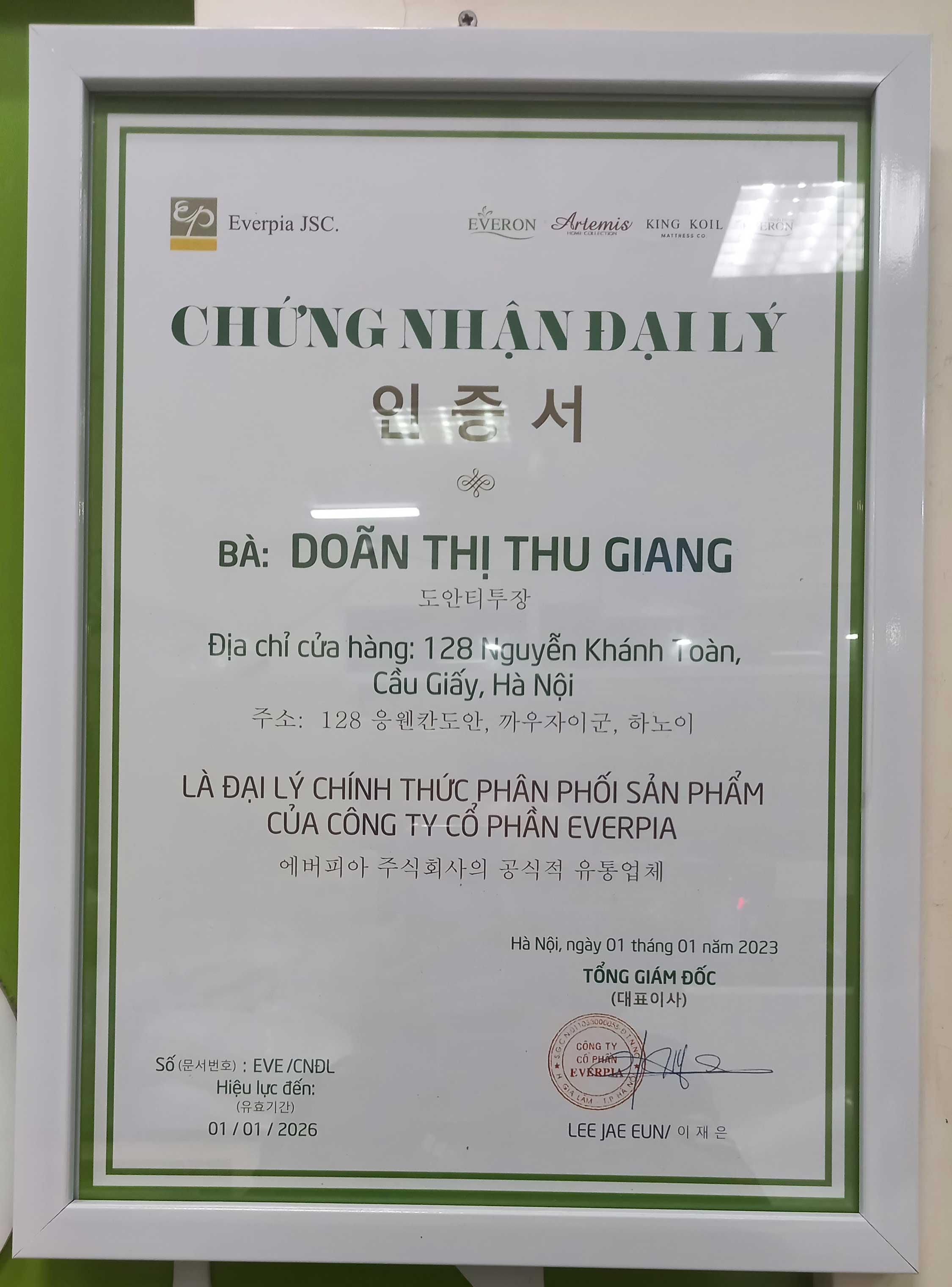 Giấy chứng nhận đại lý Everon chính hãng tại Hà Nội