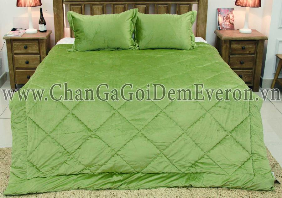 Bộ chăn nỉ Everon MICRO BURN OUT SOLID GREEN ARMY